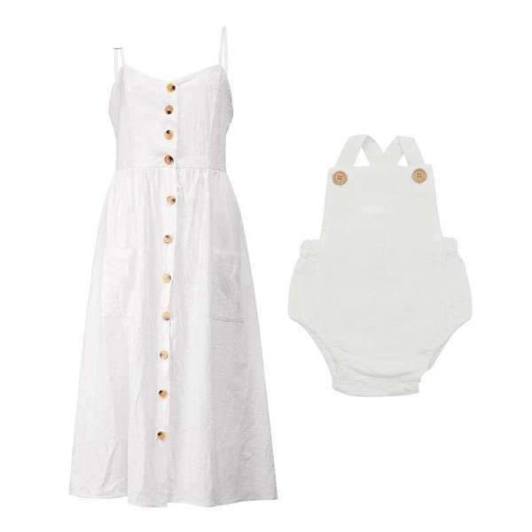 Matching Mom and Baby Spring White Dress - Matching Outfits