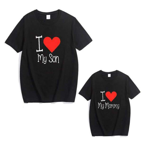 Matching Mom And Son T-Shirt I Love You Black - Matching Outfits
