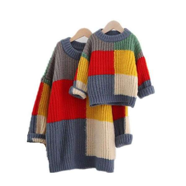 Matching Mom And Son Winter Multicolor Knit - Matching Outfits