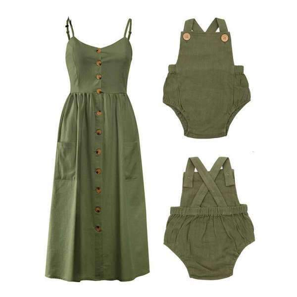 Matching Outfits Mom and Baby Khaki Dress - Matching Outfits