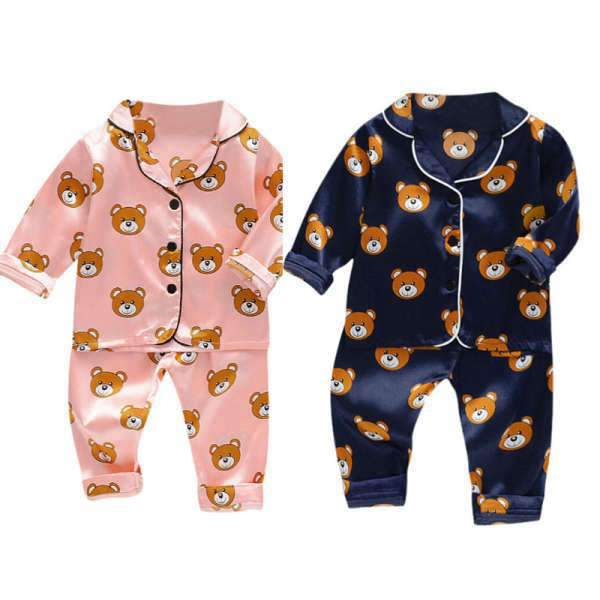 Matching Siblings Pajamas Soft Bear Pink Navy - Matching Outfits