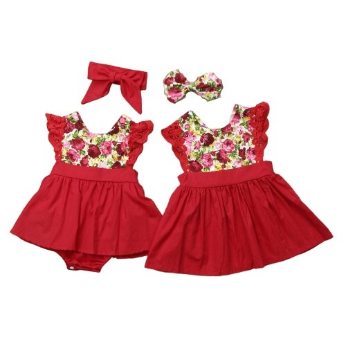 Matching Sister Dress Red Lace - Matching Outfits