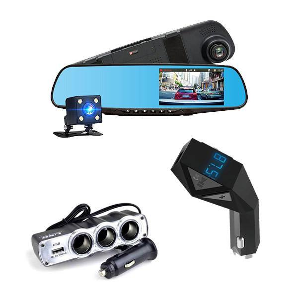 Camera dubla Full HD + Car Kit Bluetooth N8 + Priza tripla USB - Tenq.ro
