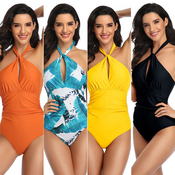 Women High Waist Cross Halter One Piece Monokini Swimsuit