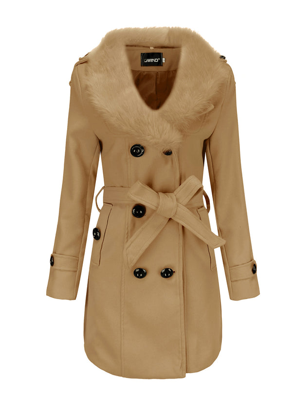 Women Big Fur Collar Double-faced Woolen Coat