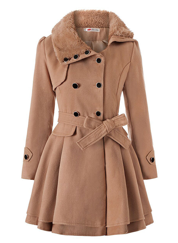 Women Double Breasted Belt Wool Coat
