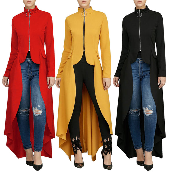 Women High Collar Zip Irregular Long Sleeve Maxi Dress
