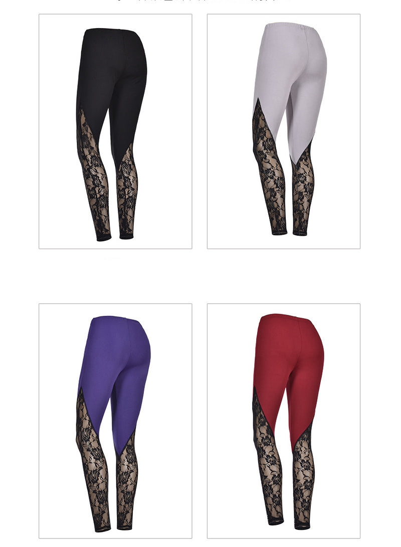 Women Lace Stitching High Waist Plus Size Yoga Leggings
