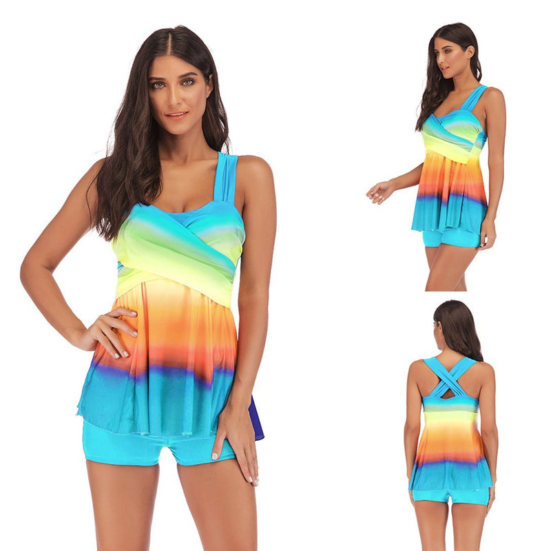 Womens Rainbow Swim Dress with Shorts Two Piece Tankini Swimsuit
