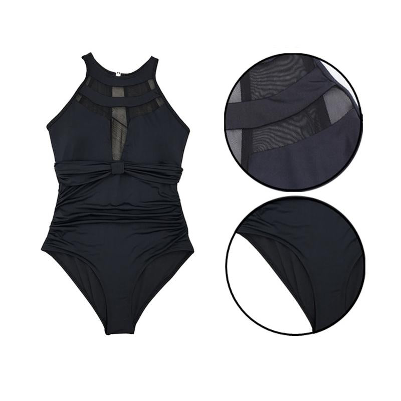 Mesh One Piece Bikini Conservative Swimsuits