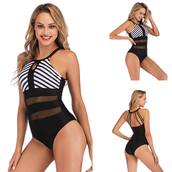 Mesh One Piece Swimsuit Plus Size Bathing Suit Tummy Control Slimming Swimwear