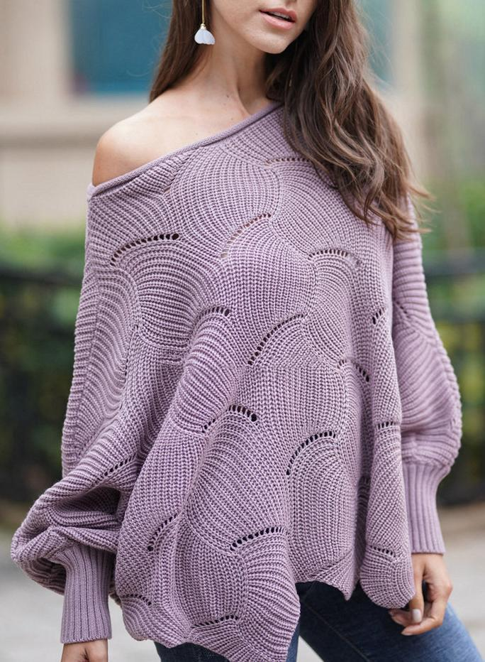 Women Round Neck Solid Color Loose Pullover Sweater