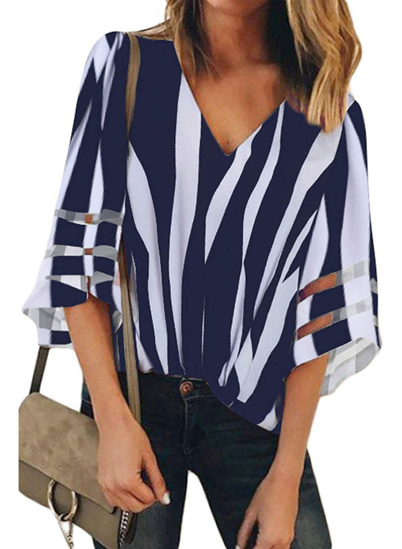Women V-neck Stripes Print Trumpet Sleeve Casual Blouse