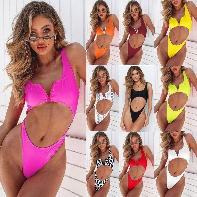 Bare Belly Zip Strap High Waist One Piece Swimsuit