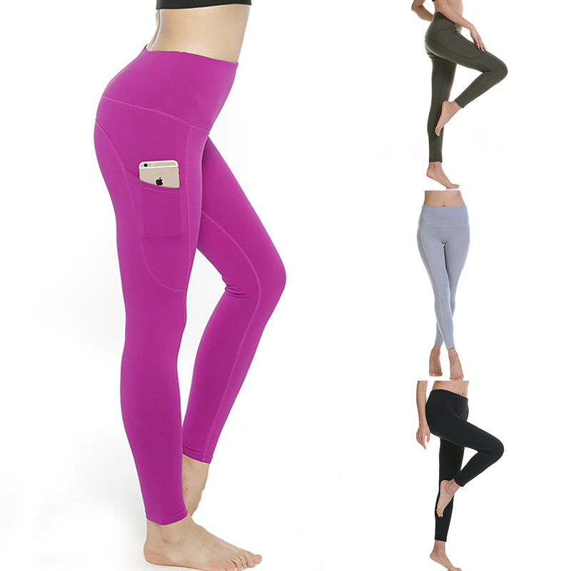 Women High Waist Solid Color Pocket Exercise Yoga Leggings