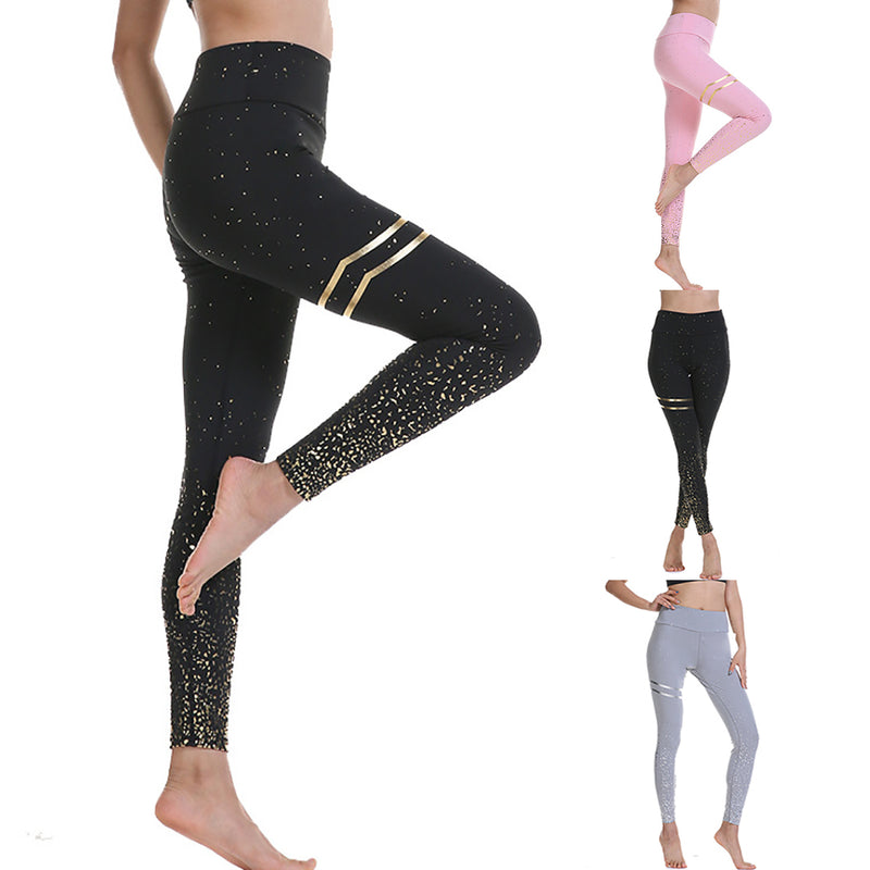Women Gold Stamped High Waist Elasticity Fitness Yoga Leggings