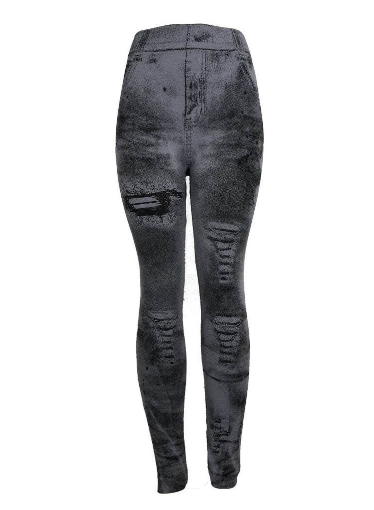 Women Jean-like High Waist Leggings Ankle-length Pants