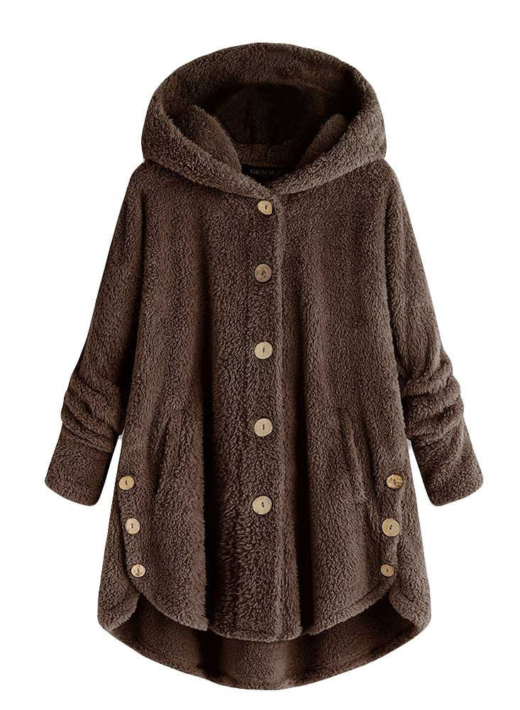Women Fashion Irregular Button Velvet Hooded Coat