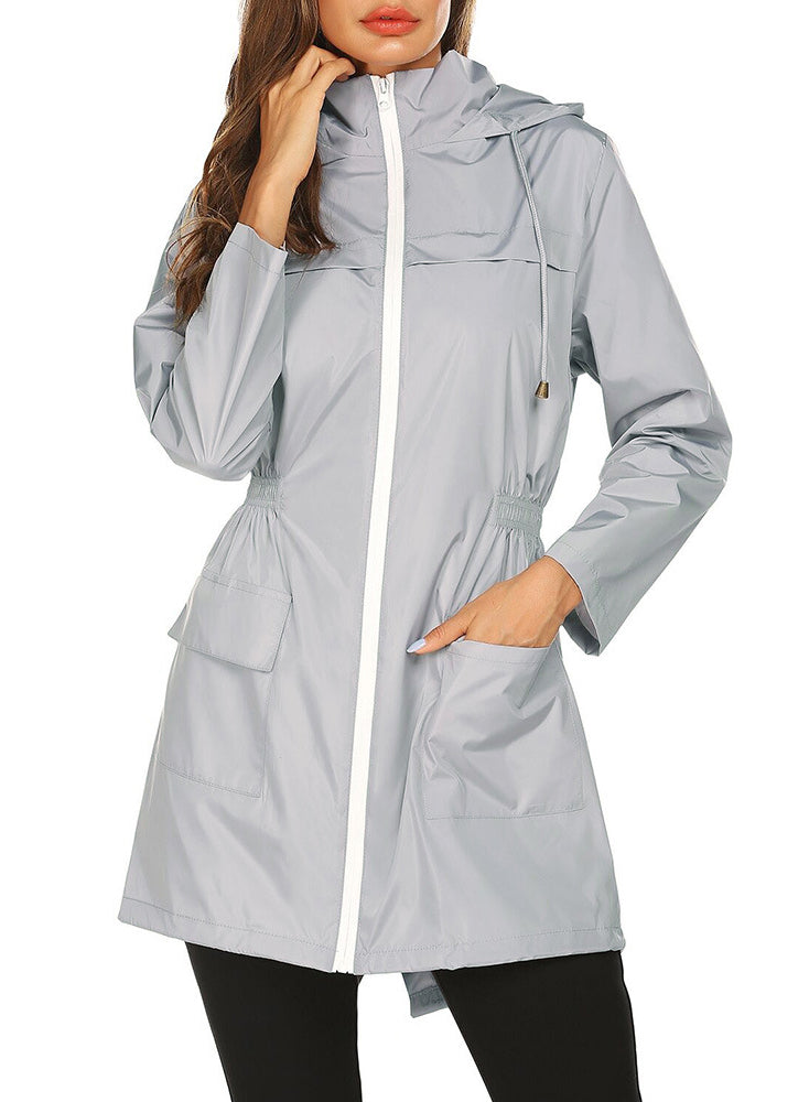 Women Outdoor Zipper Waist Waterproof Hooded Casual Raincoat