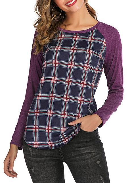 Women Round Neck Plaid Raglan Sleeve T-shirt