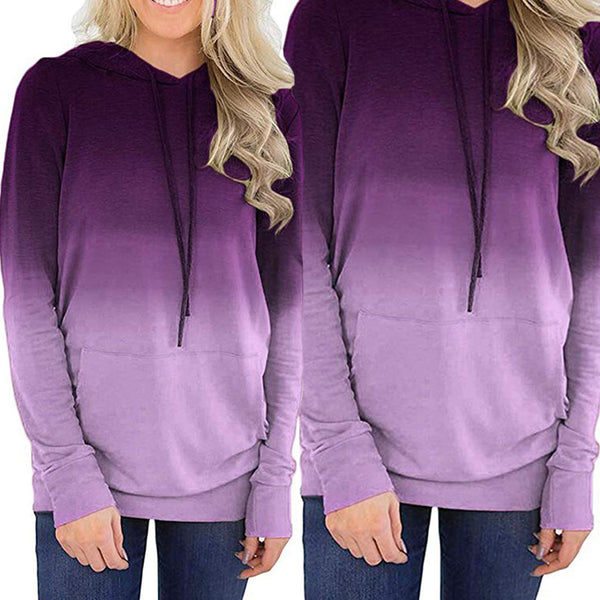 Women Gradient Color Drawstring Pocket Hooded Sweatshirt