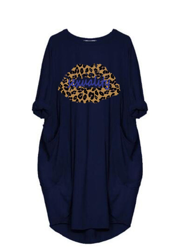 Women Leopard Lips Print Loose Day Dress