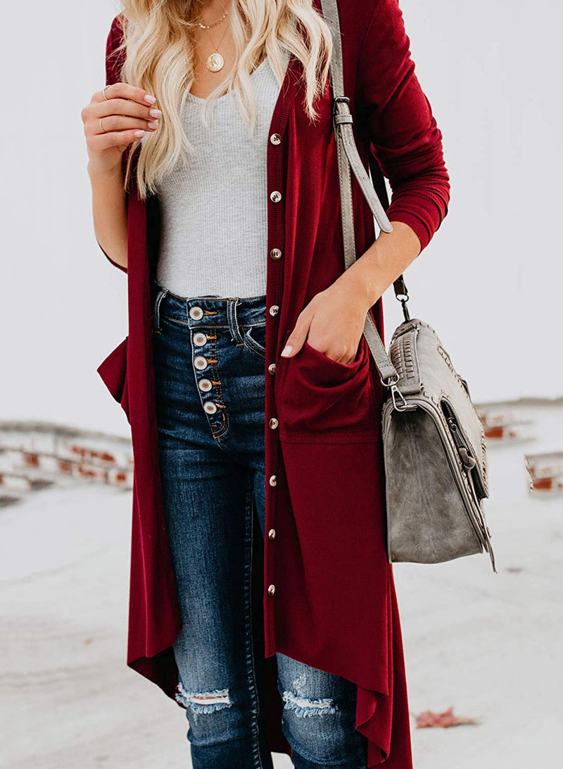 Women Solid Color Irregular Button Loose Cardigan