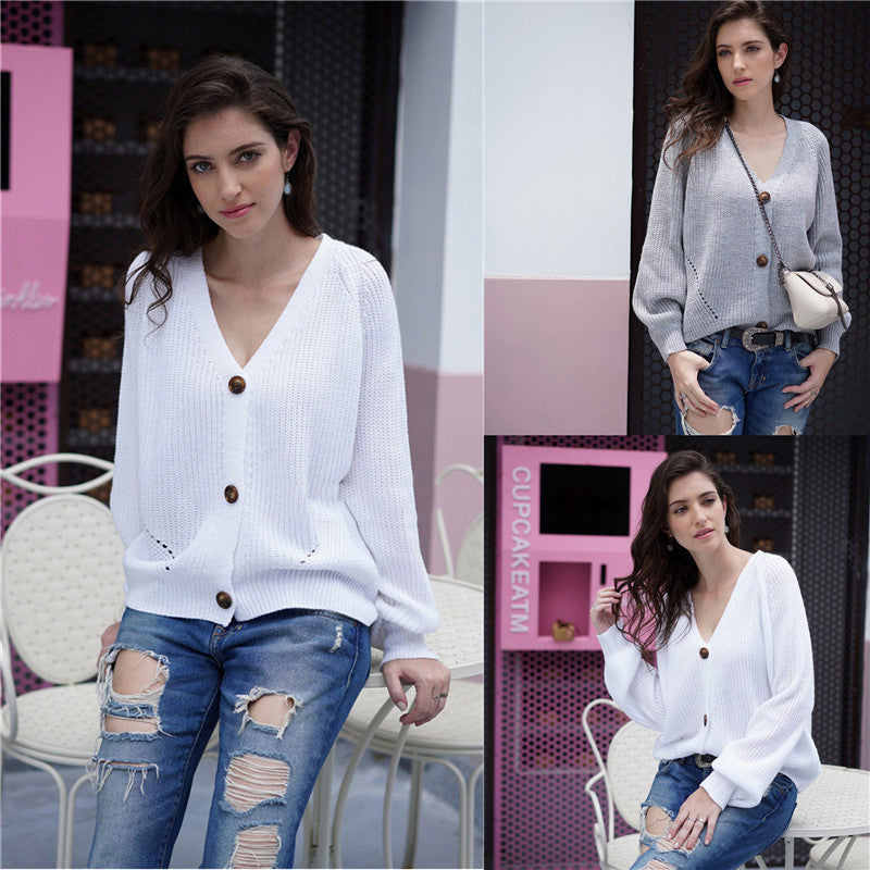 Women V-neck Solid Color Button Knit Loose Cardigan