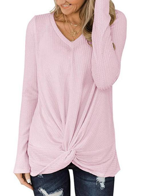 Women V-neck Knot Long Sleeve Loose T-shirt