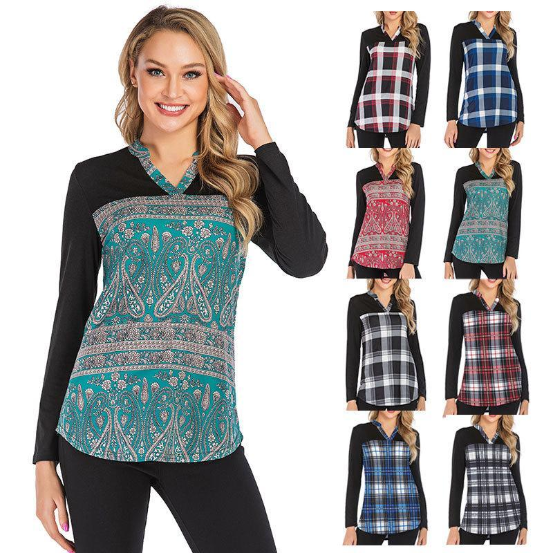 Women V-neck Plaid Stitching Long Sleeve T-shirt