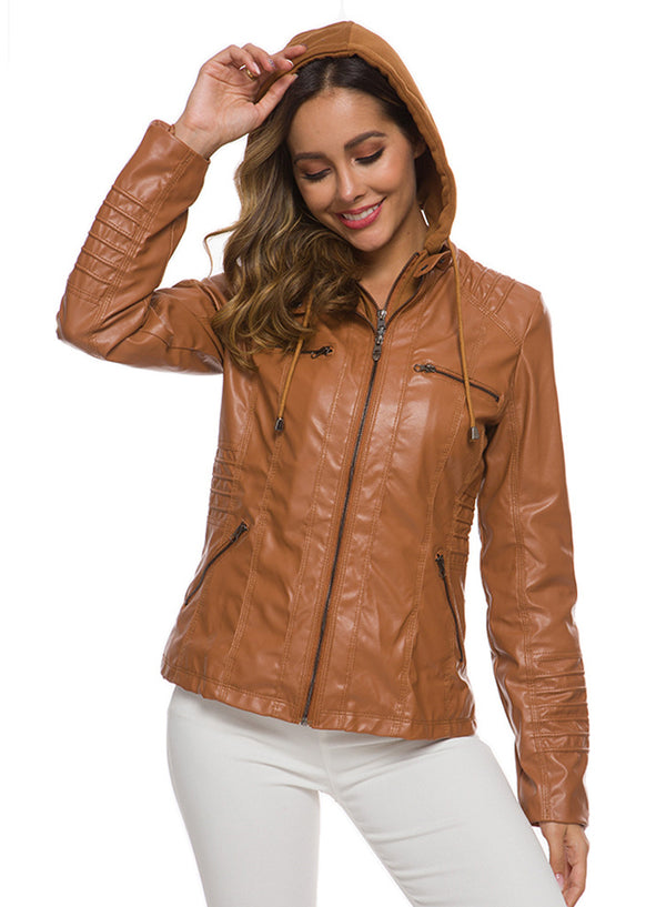 Women's Fashion Faux Leather Jacket with Detachable Hood