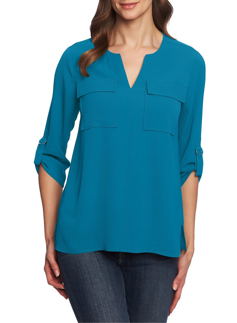 V-neck Loose Chiffon Blouse with Pockets