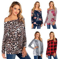 Women Leopard Print Off the Shoulder Long Sleeve T-shirt