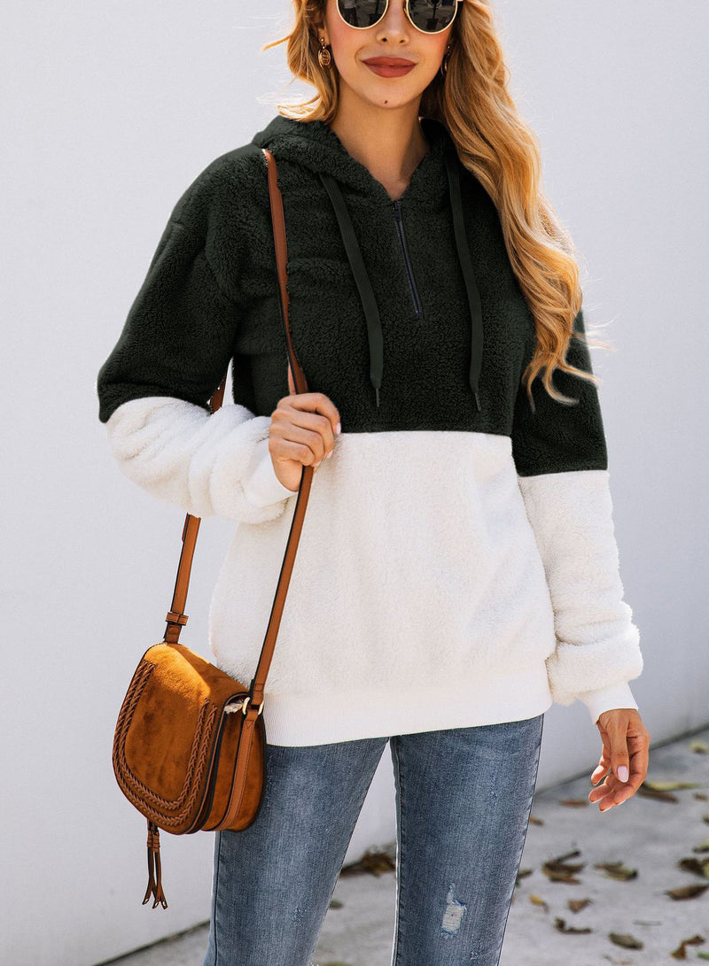 Women Solid Color Zipper Hooded Velvet Sweatshirt