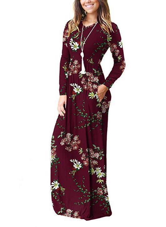 Women Print Round Neck Pockets Long Sleeve Dress