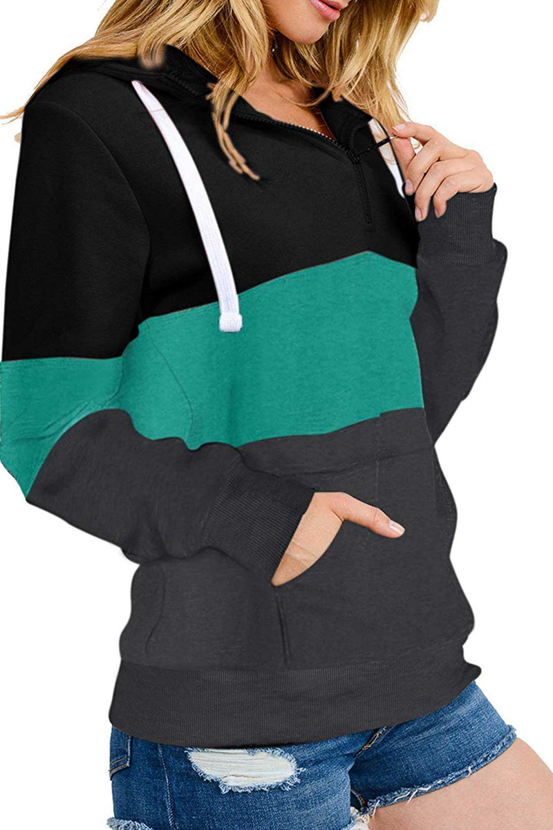 Women V-neck Zipper Contrast Color Pockets Hoodie Sweatshirt