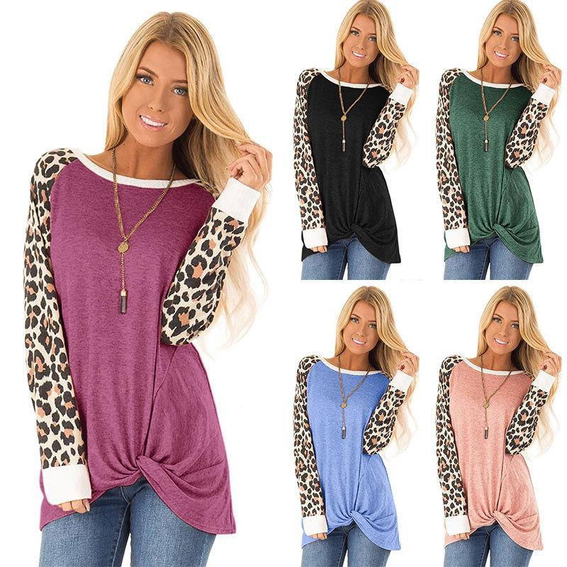 Women Leopard Print Knot Long Sleeve Loose T-shirt