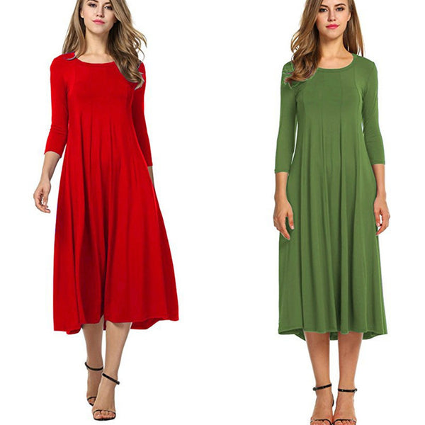Women Round Neck Solid Color Long Sleeve Day Dress
