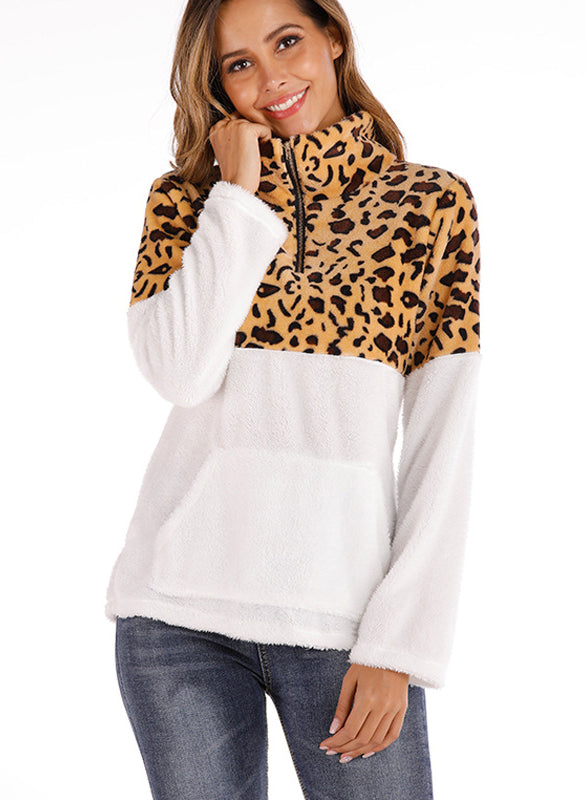 Women Fashion Leopard Pockets Long Sleeve Sweatshirt