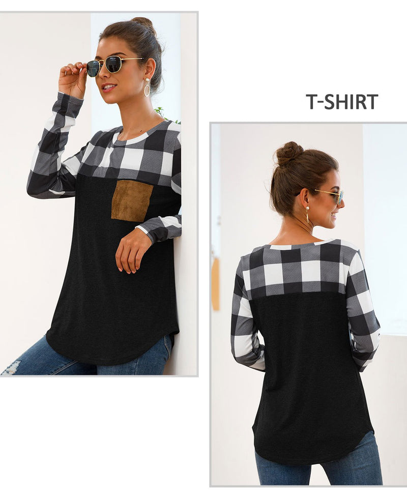 Pin Hot Round Neck Plaid Pocket Long Sleeve T-shirt