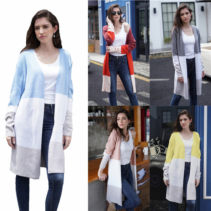 Women Stripes Contrast Color Knit Long Loose Cardigan