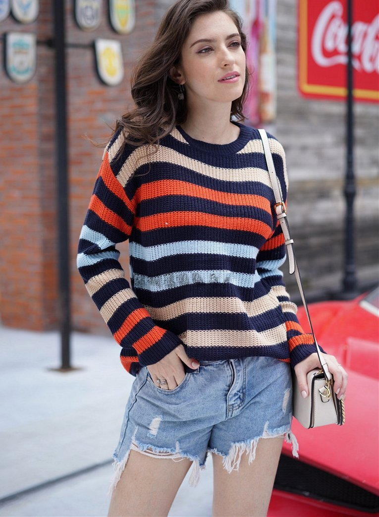 Women Rainbow Stripes Knit Loose Casual Sweater
