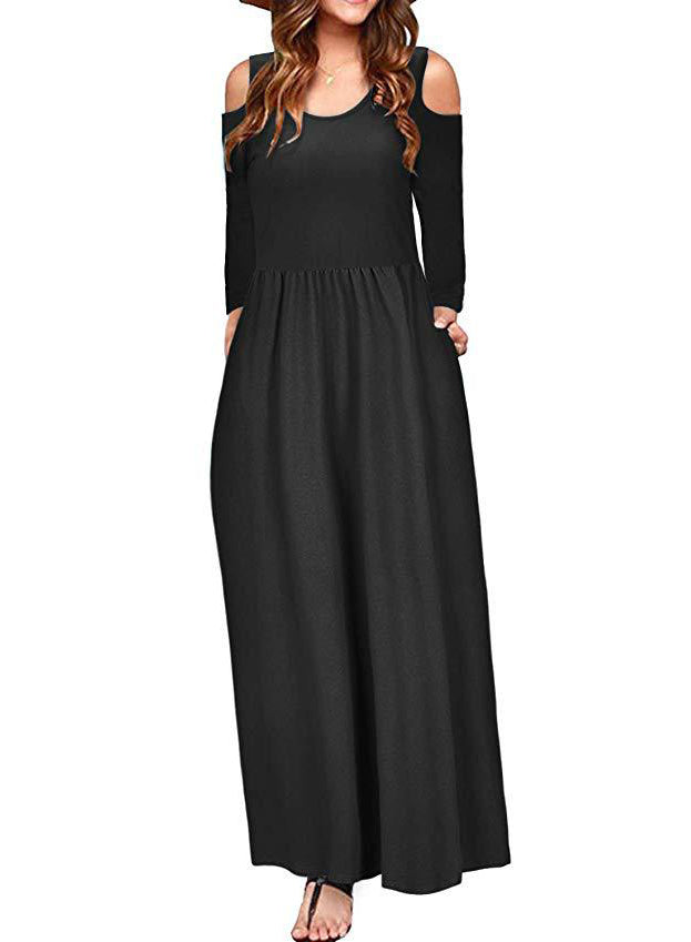 Women Shoulder Cutout Pockets Long Sleeve Elegant Maxi Dress
