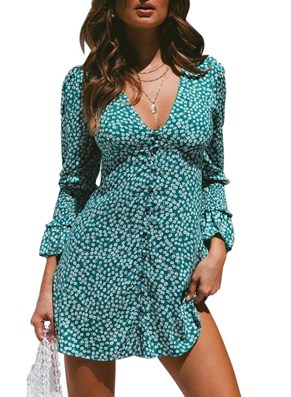 Women Floral Print Deep V-neck Long Sleeve Short Dress