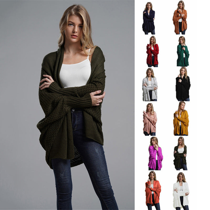 Women Solid Color Batwing Sleeve Knit Loose Cardigan