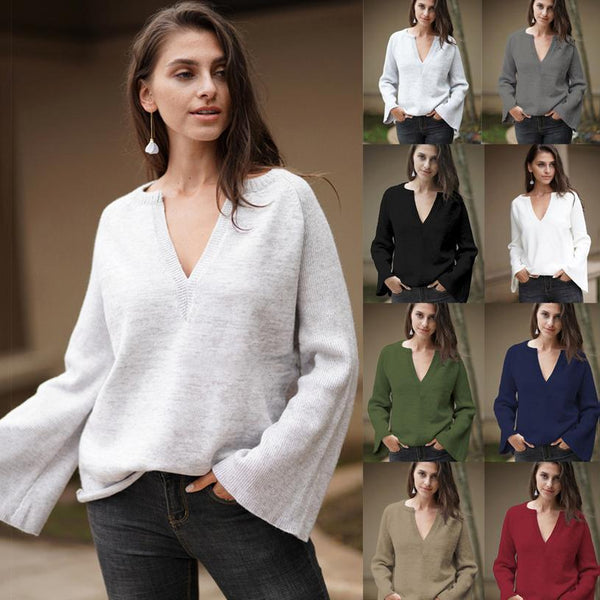 Women V Neck Solid Color Knit Loose Sweater