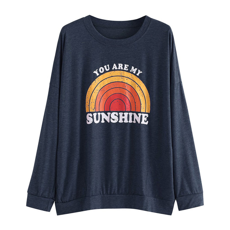 Women You Are My Sunshine Printed Sweatshirt Long Sleeve T-Shirt with Pockets