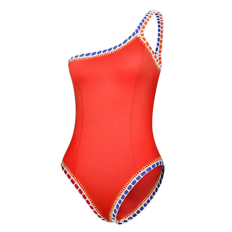 Women One Piece One Shoulder Swimsuit Sport Splice Swimwear