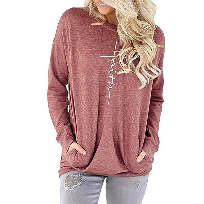Women Casual Faith Printed Sweatshirt Long Sleeve T-Shirt with Pocket