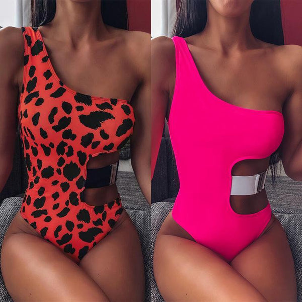 One Shoulder Sexy Cutout Leopard One Piece Swimsuit